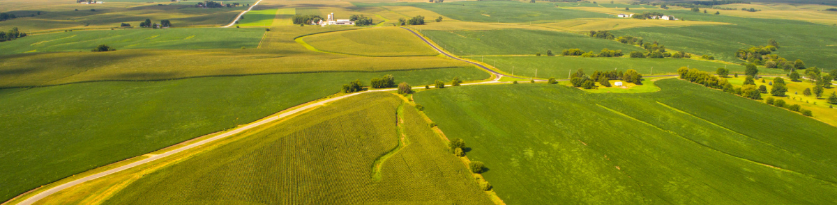 Aerial view of Iowa landscape